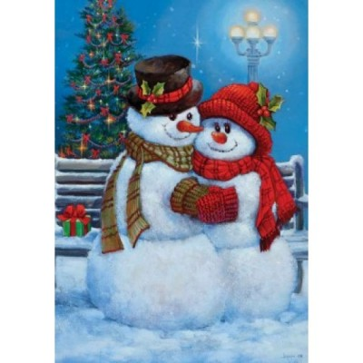 Drapeau couple de bonhomme de neige