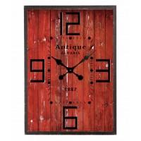 Horloge bois de grange rouge